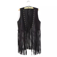 Punk Style Sleeveless Suede Tassels Rivets Vest Coat