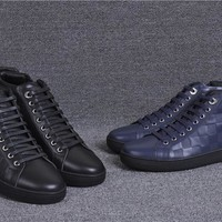 Ready Stock Lv Louis Vuitton Men's Leather Fashion Mid Top Sneakers Shoes #957