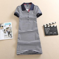 New Polo Stripe Print 2017 Embroidery Party Casual Dress T Shirt Summer Mini Women Vestidos Cotton Slim Robe Ete Plus Size Femme