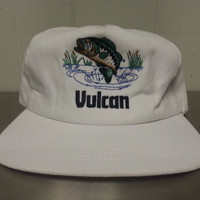 Vintage 90's Vulcan Materials Company Bass Fishing Enviromentalist Snapback Dad Hat White Made In USA