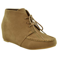Womens Ankle Boots Lace Up Moccasin Hidden Wedge Shoes Taupe