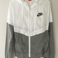 Fashion Online Fashion Nike White/gray Hooded Zipper Cardigan Sweatshirt Jacket Coat Windbreaker Sportswear
