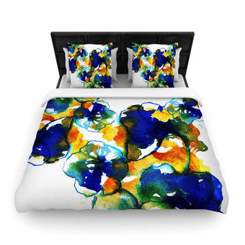 """Sonal Nathwani """"Blue Orange Floral"""" Abstract Watercolor Woven Duvet Cover"""