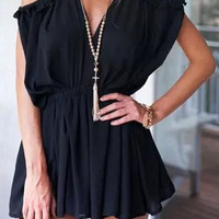 Off-Shoulder Tying Pleated Romper