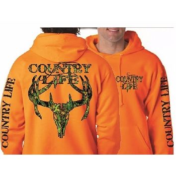 Country Life Outfitters Orange Camo Realtree Deer Skull Head Hunt Vintage Pullover Shirt Unisex Hoodie