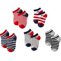 5Pair/Lot Naval Strip Children Boys Sock Anti Slip Sport Kid born Baby Socks Casual Toddler Girl Short Sock 1-9T