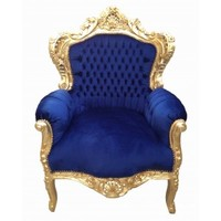 Grand Baroque style chair fabric blue velvet and gilded wood