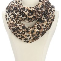 Cheetah Print Infinity Scarf by Charlotte Russe - Brown Combo