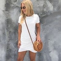 Baby I Love Your Way Ruched Dress In White