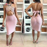 2017 New Summer pink Backless Dress  Women Ball Party Flowers Sequined Dresses Sexy Bodycon Slim Sleeveless long Dress size S-XL