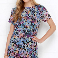 Riverbank Blossoms Blue Floral Print Shift Dress