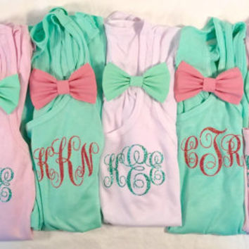 6 Flowy Tanks with Removable Bow Personalized Pocket Size Glitter Monogram Wedding, Bachelorette, Sweet Sixteen, Cruise Party Gifts