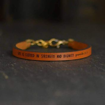 She Is Clothed in Strength And Dignity Leather Bracelet