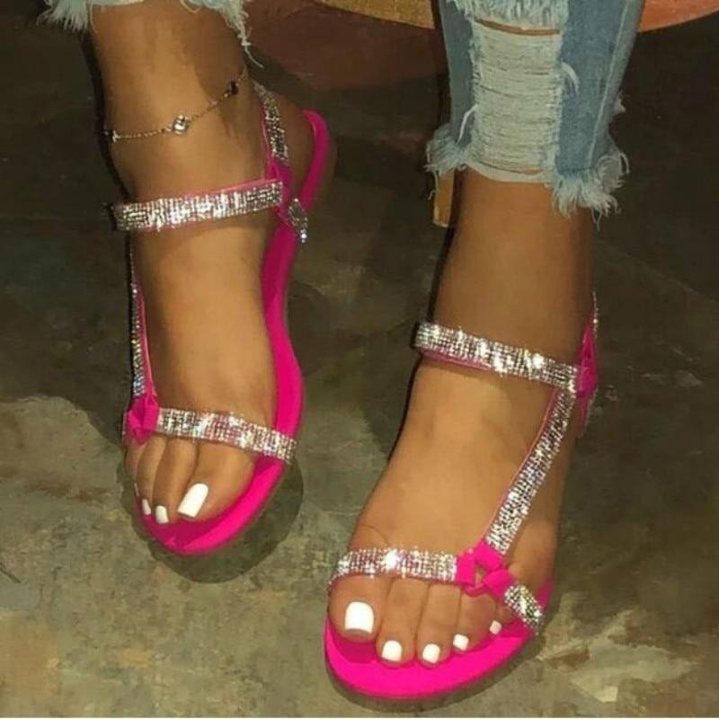 Image of Flat Sandals Rhinestone Beach Shoes Simple Crystal Shoe Plus Size 35-43
