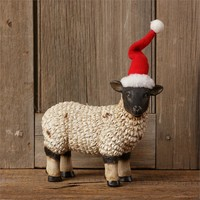 Standing Sheep in Santa Hat