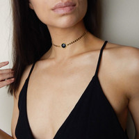 Josefine - Gold Filled Coin Choker with Black Onyx