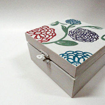 Floral Wooden Jewelry Box - Gift for Her - Gifts Under 50