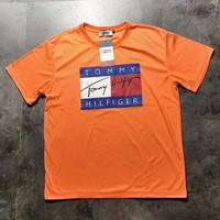 Tommy New fashion letter print couple top t-shirt Orange