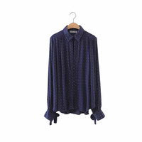 Women cute Polka Dot print oversized loose shirts bow tie buttons nevy long sleeve plus size pleated casual blouse tops LT1457