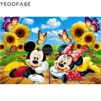 5D Diamond Painting Mickey & Minnie Sunflowers and Butterflies Kit