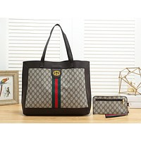 Samplefine2 Louis Vuitton LV Fashion New Monogram Letter Leather Shopping Leisure Shoulder Bag Handbag Two Piece Suit Bag