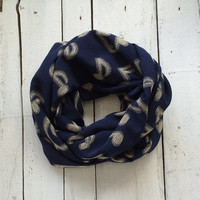 Dark Blue Musical Note Printed Circle Loop Infinity Scarf, Cotton Ecofriendly, Fashion Accessory, Gift Ideas for Her