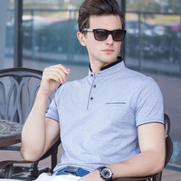 Fashion Summer Solid Polo shirt Men Stand collar Short sleeve Slim fit Camisa Polo Masculina Casual Tee shirt Polo Homme Topsz15