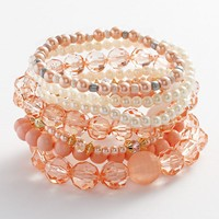 Candie's Gold Tone Simulated Pearl & Bead Stretch Bracelet Set (Pink)