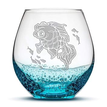Premium, Fish Bowl, Bubble Wine Glass , Hand Etched Designs By Jess