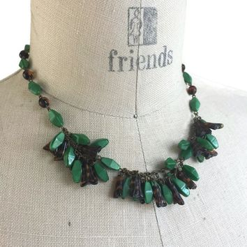 """Vintage German Pressed Glass Bead Bib Necklace 14"""", Chunky Choker Necklace, Green and Amber Beads, Vintage Art Glass Jewelry Glass and Brass"""
