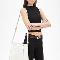 FOREVER 21 Faux Leather Trapeze Bag Cream One