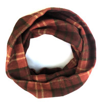 Adult Flannel Cowl Plaid Scarf Single Loop Scarf Burgundy Russet Green Gold Scarf Poe-Poe's Just Enough Scarf Ready to Ship