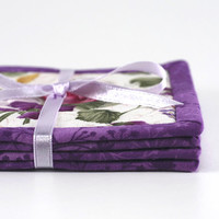 Fabric Coasters - Purple Roses - 4 Reversible Mini Quilts Candle Mat Set - Pink and White Floral Coasters - OOAK