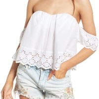 BP. Eyelet Off the Shoulder Crop Top | Nordstrom