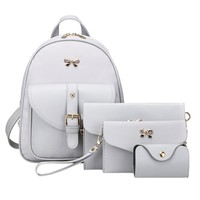 4Pcs/set PU Leather Mini Bow Women Backpack Cute School Bags For Teenage Girls sac a dos Rucksack with Shoulder Bag Purse