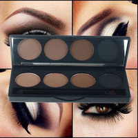 Professional Eyeshadow Eye Brow Makeup 4 Colour Eyebrow Powder Palette With Double Ended Brush Eye Shadow Make Up Kit Set
