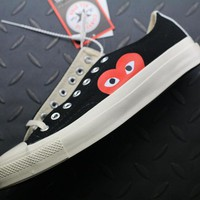 hcxx Converse Cdg Play Addict Fashion Canvas Flats Sneakers Black