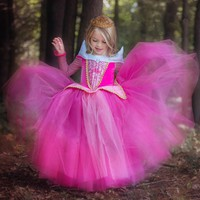 3-9 Y Kids Clothes Girl Autumn Elegant Aurora Sleeping Beauty Dress Carnival Costumes for Girls Party Princess Dresses GDR126