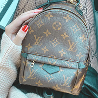 LV Louis Vuitton Women Casual School Bag Cowhide Leather Backpack  Coffee Bag