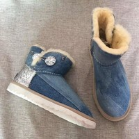 """Ugg ""wool Snow Boots winter Women fashion shoes/blue"