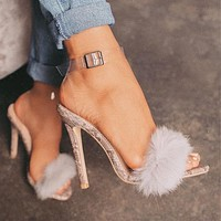 2020 new women's plush sexy hollow one word high heel sandals shoes