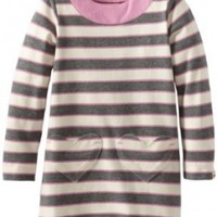 Hatley Little Girls' Kids A-Line Dress Pink and Grey Stripes, Natural, 7