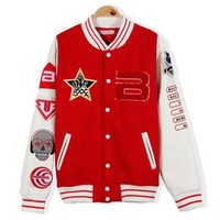Kpop Support Bigbang Baseball Coat (XL, RED)