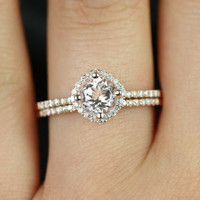 Kitana Petite Size 14kt Rose Gold Morganite and Diamond Cushion Halo Wedding Set (Other metals and stone options available)