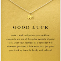 Good lucky Elephant Pendant Necklace Gold Plated Clavicle Chains Statement Necklace Women Jewelry(Has card)