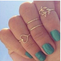 New sale 4PCS/Set Women Gold silver 925 Cute Urban Crystal Plain Above Knuckle Ring Band Midi Ring Leaf Heart Knuckle Rings 3081