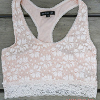 Keep Your Eyes On Me Blush Pink Lace Racerback Bralette
