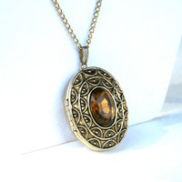 Vintage Avon Perfume Locket Necklace with Amber Colored Center