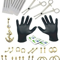 BodyJ4You Body Piercing Kit 16G 14G Belly Rings Goldtone Tongue Tragus 36 Pieces