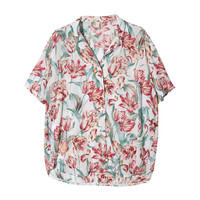 Notched Collar Floral Print Blouse | STYLENANDA
